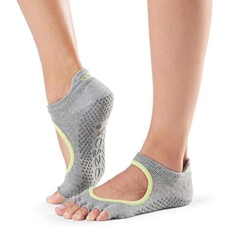 toesox Women's Bella Half Toe Grip Non-Slip for Yoga, Pilates, Barre, Ballet Toe Socks (Heather Grey/Lime Trim) Small Review