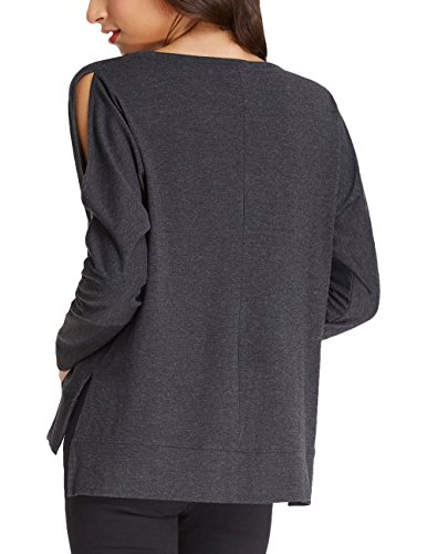 Casual Cold Shoulder Long Sleeve Tunic Tops Sweatshirt For Women (L,Dark Grey) (Sweater Petite Smith)