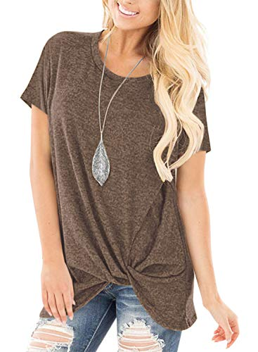 onlypuff Coffee Shirts for Women Ladies Short Sleeve Tops Twist Knot Side Tunics Solid Color Large