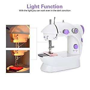 EleLight Portable Sewing Machine, Double Speed Mini Automatic Sewing Machine Thread Electric Crafting Mending Machine with Light and Foot Pedal for Fabric Clothing Home Travel Use by HYE