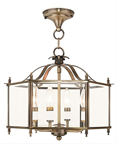 Chandeliers 4 Light with Clear Beveled Glass Antique Brass Size 16 in 240 Watts - World of Crystal ()