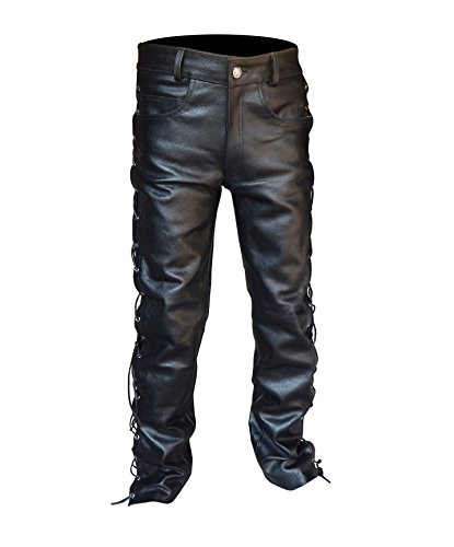 Leather Motorcycle Pants Chaps (2Fit Men's Thick Cowhide Leather Side Laces Jeans Model Pant Waist Size 30