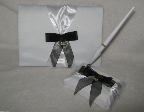 Wedding Guest book & Pen Set Biker Motorcycle White Satin by Designs by Susan