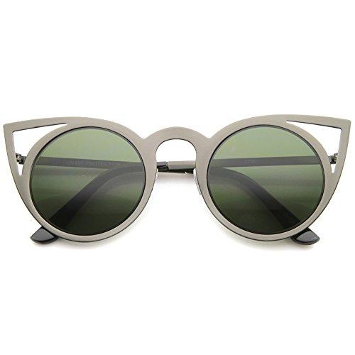 zeroUV - Womens Fashion Round Metal Cut-Out Flash Mirror Lens Cat Eye Sunglasses (Gunmetal / - Gunmetal Green
