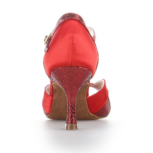 Jia Jia Y20521 Latin Women's Sandals 2.7'' Flared Heel Super Satin with Sparkling Glitter Dance Shoes Red Q9PdG8GM