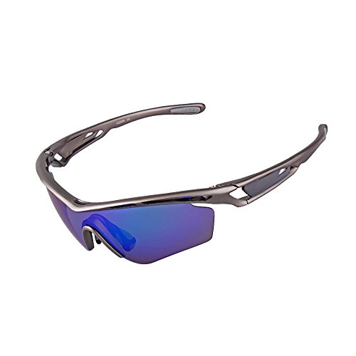(Ewin E07 Polarized Sports Sunglasses, 3 Interchangeable Lenses UV400 Protection Sports Glasses, Golf Fishing Cycling Driving Running Glasses (Grey&Grey))