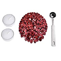 Wotryit Octagon Wax Seal Beads Stamp Sealing Wax Beads Melting Spoon Kit Wine Red(230 pcs Octagon Wax,2 pcs Candle,1 pc Spoon)