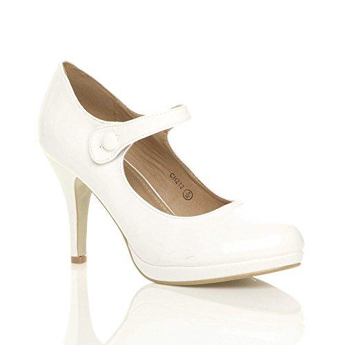 Zapatos mujer Ajvani Lack Weiß vestir de para dT6wqB0