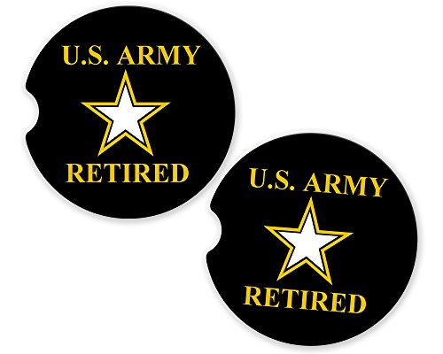 US Army Retired Military Car Sandstone Car Cup Holder Matching Coaster Set by BrownInnovativeMedia