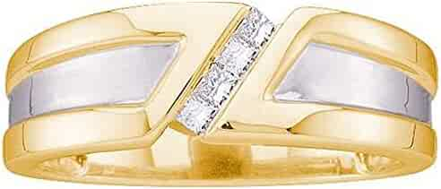 0.15 Carat (ctw) 14K Yellow Gold Princess Cut White Diamond Mens Invisible Ring Wedding Band