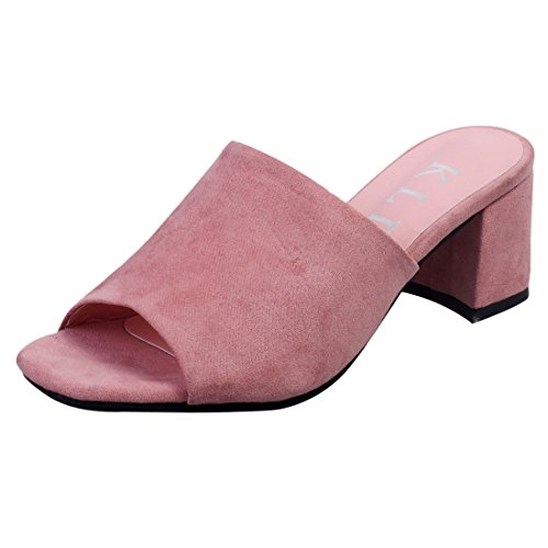 Pink Chunky Slide Suede Trendy Heel Jiyaru Open Shoes On Toe Women Slip Sandals F7qpIUg