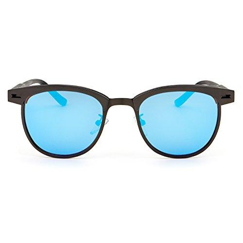 Hombre Gafas UV400 Protección RONSOU y Mujer Gafas Retro para Lente Sol de Gris Azul Marco 100 Polarizadas nwY00v18x4