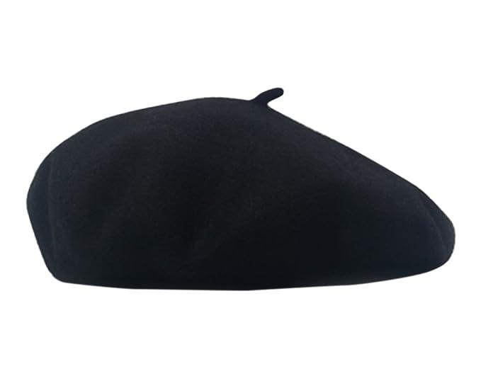 Women s Berets Cap Wool Hat Ladies Beret Warm Winter Fall Elegant French  Painter Cap (Black 8d168e845716