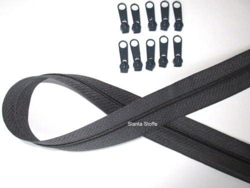 Meterware 10 Schieber//Zipper 33 Farben Spirale 3mm 2m Reißverschluss endlos