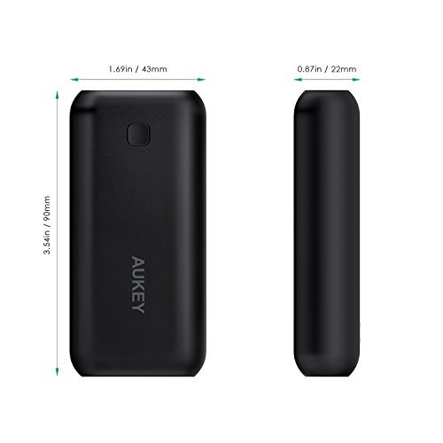 AUKEY Pocket 5000mAh Power Bank with Ultra-Compact, AiPower Charging Technology for iPhone X / 8 / 8 Plus / 7 / 7 Plus /, Samsung Galaxy, and More