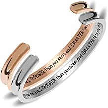 "NewCHICHI Stainless Steel Grooved Cuff Bracelet Hair Tie Holder Engraved""You're Braver than you believe, Stronger than you seem,and Smarter than you think"""
