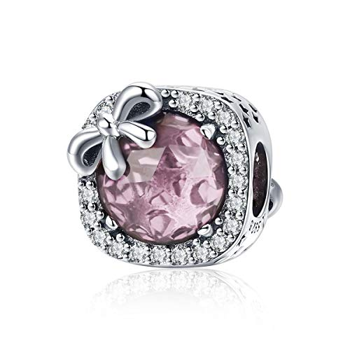 BAMOER 925 Sterling Silver Charm Pink Birthstone Bowknot Crystal Bead Charm for European Bracelet Necklace
