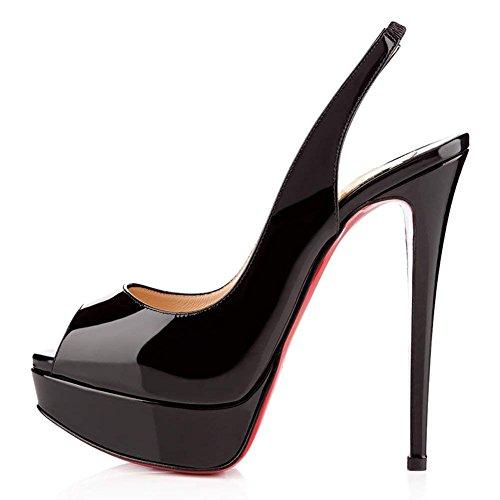 R0ss0 Festa Toe Dress Sandali Caitlin Fondo Piattaforma Alti On Tacchi Scarpe Slingback Donna Tacco Stiletti Peep col Black Pan Pompe Slip AqABPxRwn