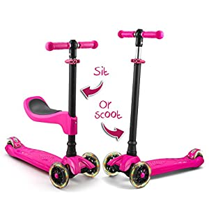 LaScoota 2-in-1 Kick Scooter with Removable Seat great for kids & toddlers Girls or boys – Adjustable Height w/Extra-wide Deck PU Flashing Wheels for Children from 2 to 14 Year-Old (Pink)