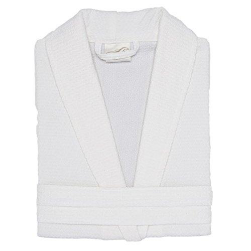 Diamond Waffle Weave Shawl Collar Kimono Robes Bathrobe Spa Hotel Robes By Mirko(White,XXL) Diamond Waffle Robe