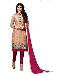 Mirraw Chanderi Cotton Peach Embroidered Work Churidar Unstitched Salwar Kameez