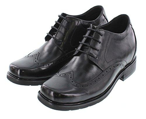 Calto T52711-3 Pouces Plus Haut - Hauteur Augmentant Les Chaussures Dascenseur - Chaussures Habillées En Cuir Noir À Lacets