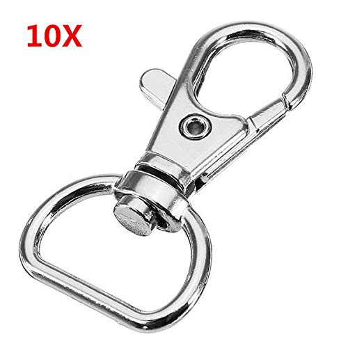 OKIl 10Pcs 40mm Silver Zinc Alloy Swivel Lobster Claw Clasp Snap Hook with 16mm D Ring