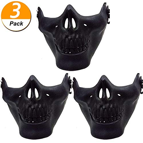 HAUSHION Halloween Hunting Ski Skull Airsoft Paintball Wargame Protect Gear Half Face Skeleton Mask CS Costume for Children Adults