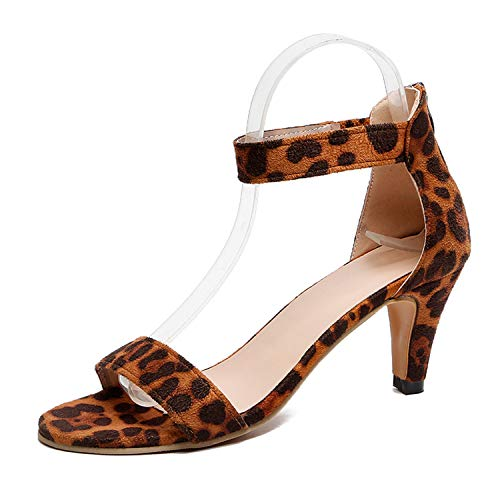 Milk Maniac Women Pumps Thin High Heel Open Toe Zipper Suede Wedding Leopard Platform OLSandal Shoes,Leopard,41