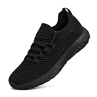 Feetmat Womens Sneakers Slip On Walking Tennis Running Shoes Ultra Lightweight Air Knitted Breathable Mesh Fashion Athletic Gym Sports Non Slip Casual Shoes Black 6.5 M US