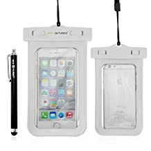 Waterproof Case with IPX8 Certificate for iPhone 6, 5, 5G, 4, 4S, 3G, 3GS / Samsung Galaxy S5, S4, S4 Active, S4 Mini, S3, S3 Mini, S2 (NOT suitable for Note 2 or 3) / iPod Touch 3, 4, 5 / HTC ONE X, ONE S Z520E, Windows Phone 8X (AT&T, T-Mobile, Verizon) / Blackberry Q10, Z10, Bold Touch 9900, Touch 9930 / Motorola DROID RAZR (Verizon) / LG NEXUS 4 (E960), P760 / Nokia Lumia 920, 820 (AT&T) plus 1 Stylus & 1 ECO-FUSED® Microfiber Cleaning Cloth (White)