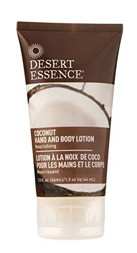 Desert Essence Coconut Hand & & Body Lotion - 1.5 Fl Oz - Nourishing - Hydrates & Softens Skin - Silky & Smooth - Rejuvenates Senses - Tropical Extracts - Coconut, Jojoba Oil - Shea Butter