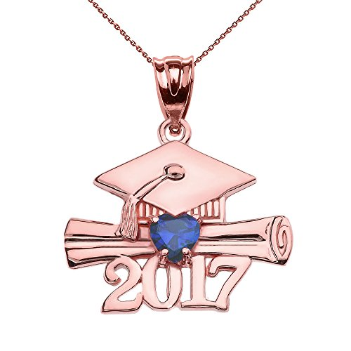 10k Rose Gold Heart September Birthstone Class of 2017 for sale  Delivered anywhere in Canada