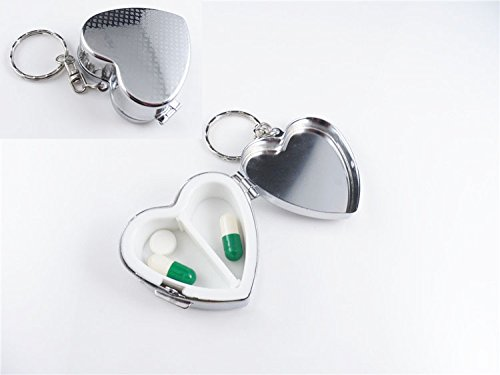 Pillbox Keychain Container Portable Heart shaped