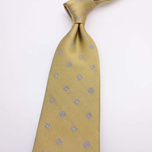 LDG Men's Silk Necktie, Navy Blue Snowflake Wave Point Business Suit Accessories Wide Tie Handmade (Color : Yellow)