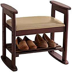 Shoe Storage Bench with Seat Cushion - Ottoman Hallway Bench Shoes Rack/Shoes Cabinet - Wooden Change Shoe Stool Foot Stool Upholstered Footrest Bench - Organizer Holder - Vintage Style(Deep Brown)