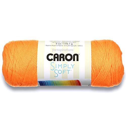 (Caron Simply Soft Solids Yarn (4) Medium Gauge 100% Acrylic -  -   Neon Orange  -  Machine Wash &)