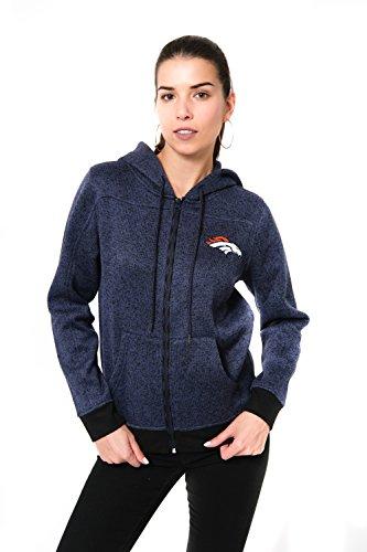 NFL Women's Denver Broncos Full Zip Hoodie Sweatshirt Jacket Marl Knit, X-Large, Navy Denver Broncos Womens Sweatshirts