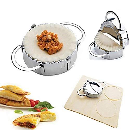 Conveasy Stainless SteelDumpling MakerDough Cutter Ravioli Empanada Press Mold, Pierogi Wrapper Pastry Tools -3.74 inches Large ()
