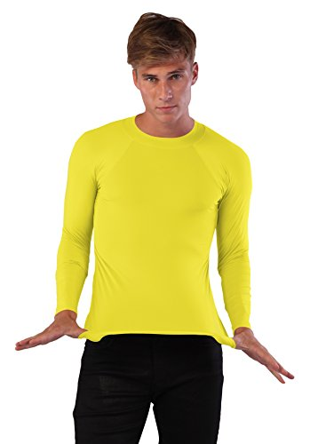 Ingear Men Rash Guard Made USA Long Sleeve Shirt Swimwear Beachwear (Medium, (Yellow Mens Rash Guard)