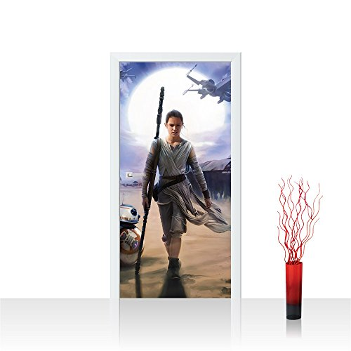 Photo wallpaper Door | STAR WARS Rey Cartoon Warrior Robot Spaceship | self-adhesive PREMIUM PLUS 35.8
