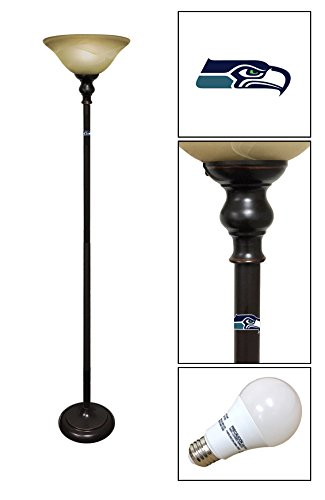 Bronze/Copper Metal and Glass Floor Lamp Featuring Your Favorite Football Team Logo – FREE LED BULB INCLUDED (Hawk Floor Lamp)