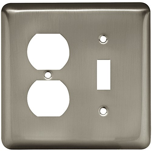 - Franklin Brass W10253-SN-C Stamped Round Single Toggle Switch & Duplex Wall Plate/Switch Plate/Cover, Satin Nickel