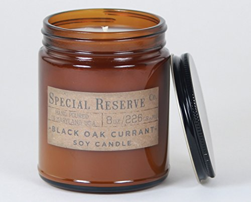 Candle Wax Rustic (Black Oak Currant Scented Soy Wax Candle - Rustic Amber Jar with Lid - 8 oz.)