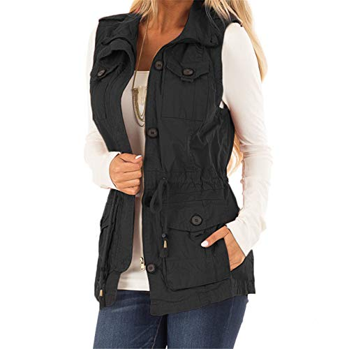 Koodred Women's Casual Military Utility Vest Lightweight Sleeveless Drawstring Jackets with Pockets