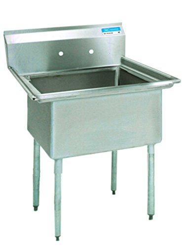 BK Resources Stainless Steel Single 1 Compartment Sink, 16x20x12