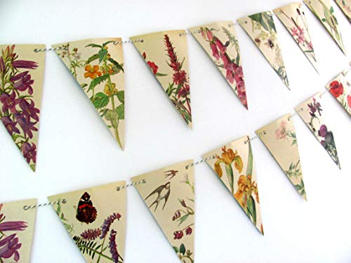 English spring and summer flowers bunting garland. Rustic countryside wedding backdrop.