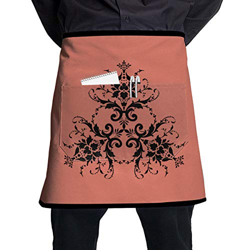 Damask Flower Personalized Unisex Chef Work Crafts with Pocket Half Apron,Restaurant,Shop,Art Blouse,Waiter Cooking Clean Restaurant Bistro Coffee from BDGXFG