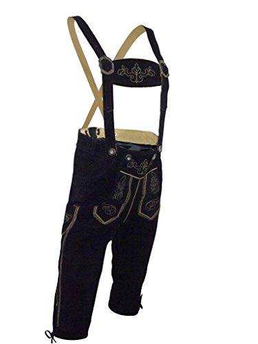 PAULGOS Damen Trachten Lederhose --- Echtes Leder --- Schwarz --- Kniebund, Größe Artikel:36