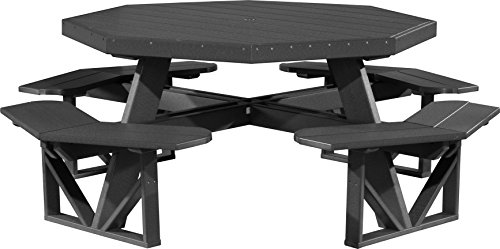 - Furniture Barn USA Outdoor Octagon Picnic Table - Black Poly Lumber - Recycled Plastic